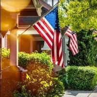 kansas home with american flag